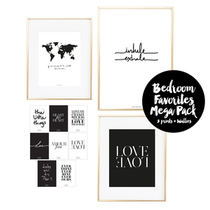 Bedroom Favorites Mega Pack 4 Prints + 8 Wallies