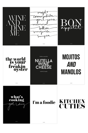 KITCHEN CUTIES WALLIES: 8 PRINTS IN ONE PACK