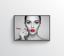 Women Red Lips One Photo